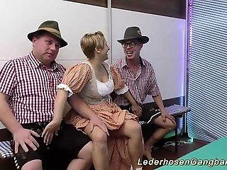 amateur lederhosen gangbang orgy