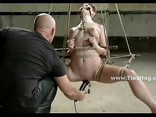 Gorgeous redhead gets tied up