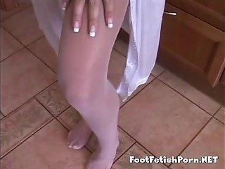 Small tits tight nylon sexy feet