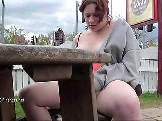 Isabel Deans public flashing and outdoor voyeur masturbation of chubby babe dild