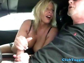 Handjob amateur busty MILF loves to wank