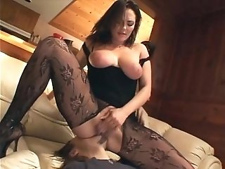 Cunnilingus with a busty babe in crotchless nylon