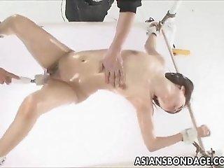 Japanese babe fucked various dildos